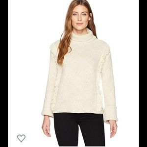 Woolrich patterned knit fringed turtleneck sweater